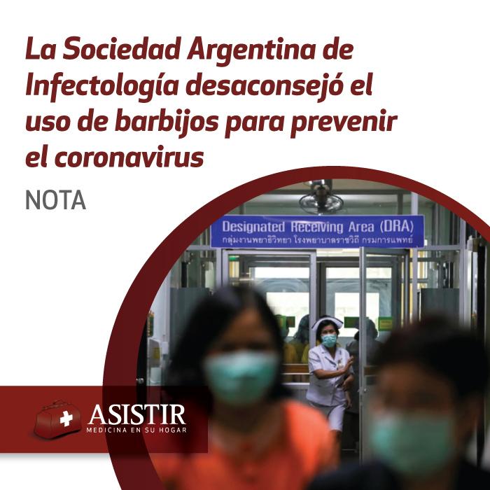 La SADI desaconsejó el uso de barbijos para prevenir el coronavirus